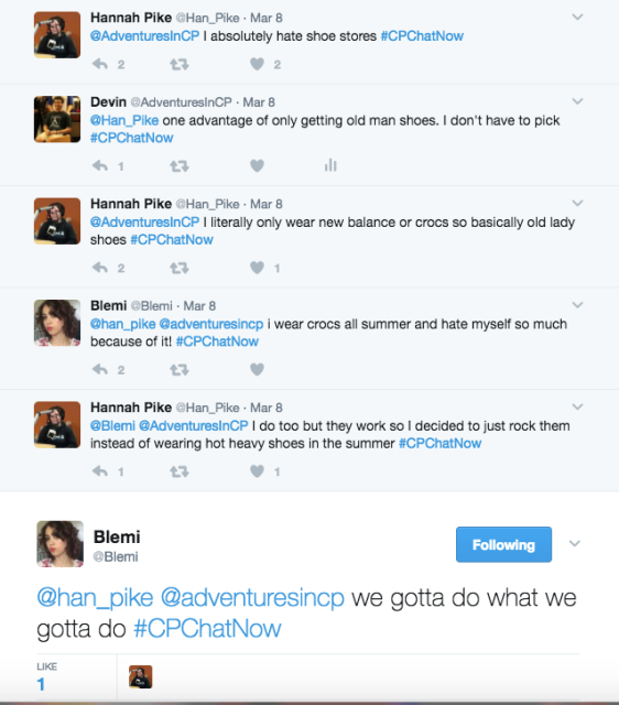 Discussion about difficulty of finding stylish shoes between Hannah, Devin, and Blemi.