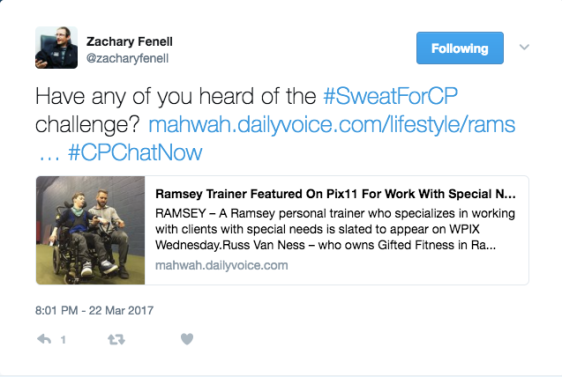 Zach asking if anyone has heard about the #SweatForCP challenge and sharing an article