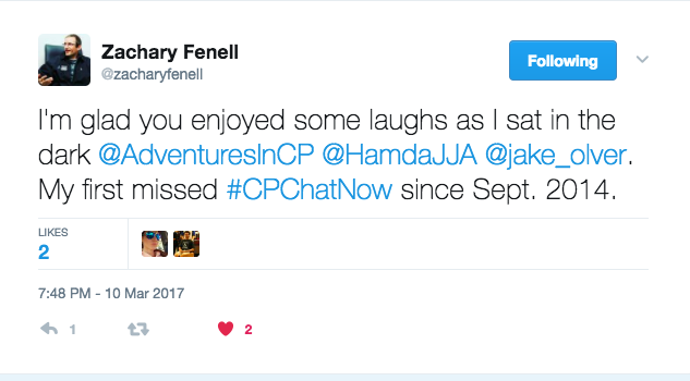 Zach Fennell describing how he missed this chat due to a power outage