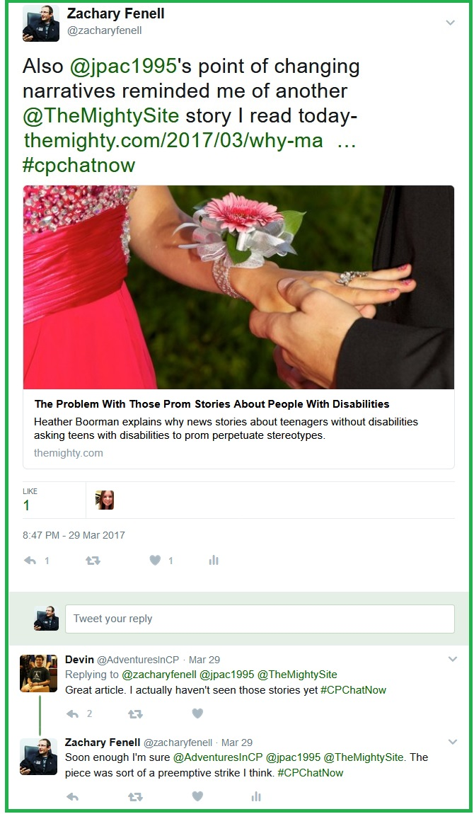 Zachary Fenell shares an article questioning the narrative often seen with disability related prom stories.