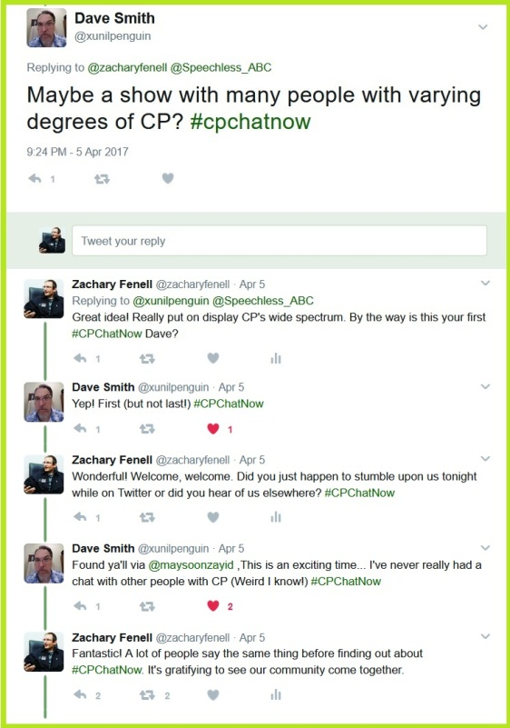Newcomer to #CPChatNow Dave Smith wants to see a variety of CP cases on a Speechless episode.