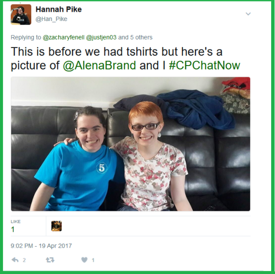 Hannah submits a photo with fellow #CPChatNow participant Alena Brand for inclusion in CPChatNow's new promotional graphics.