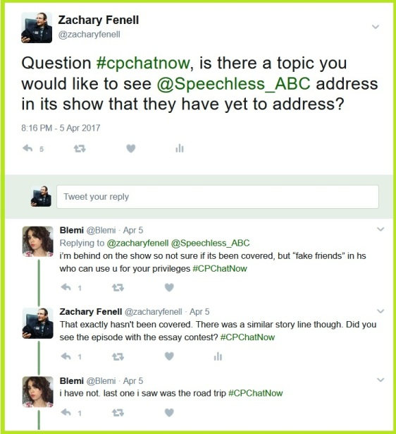 Zachary asks about topics people want to see addressed on the show Speechless.