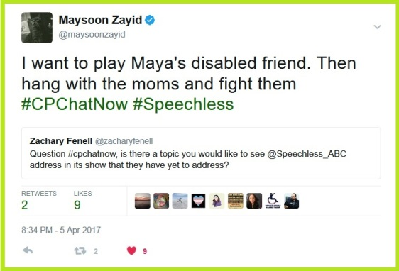 Comedian and actress Maysoon Zayid wants to guest star on Speechless as Maya's disabled friend.