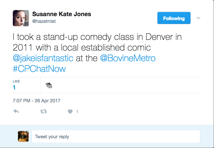 Susanne discussing the comedy classes she has taken