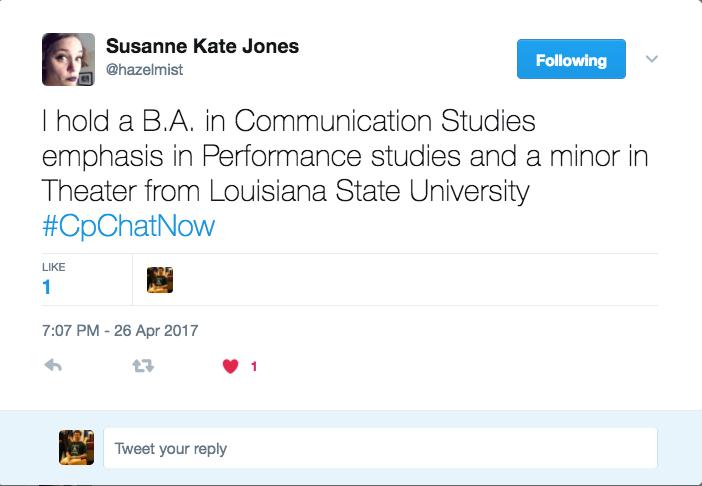 Susane describing her degrees from LSU