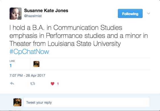 Susane describing her degrees from LSU