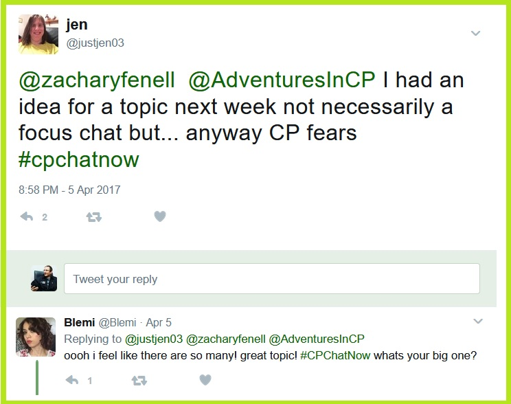 Jen wants to discuss fears, a notion seconded by Blemi.