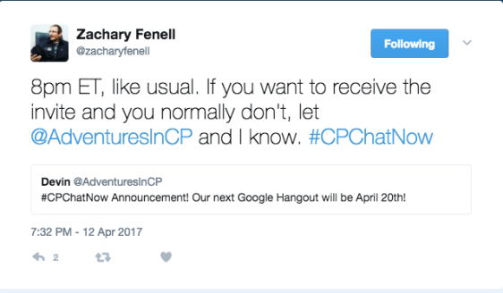 Google Hangout announcement April 20th 7 PM
