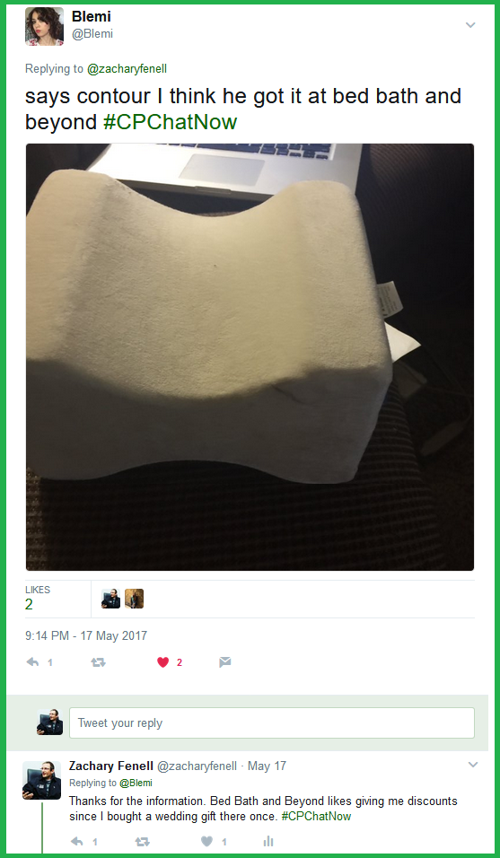 Blemi tweets a photo of a Contour pillow that she recommends using between your knees.