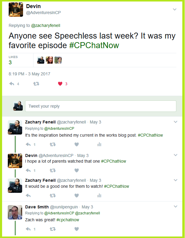 "#CPChatNow participants discuss Speechless episode 20 (season 1) ""R-U-- RUNAWAY."""