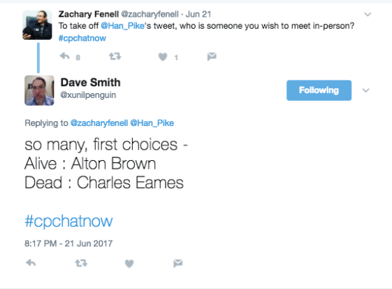 Zach asking who members would like to meet. Dave offered Alton Brown and Charles Eames