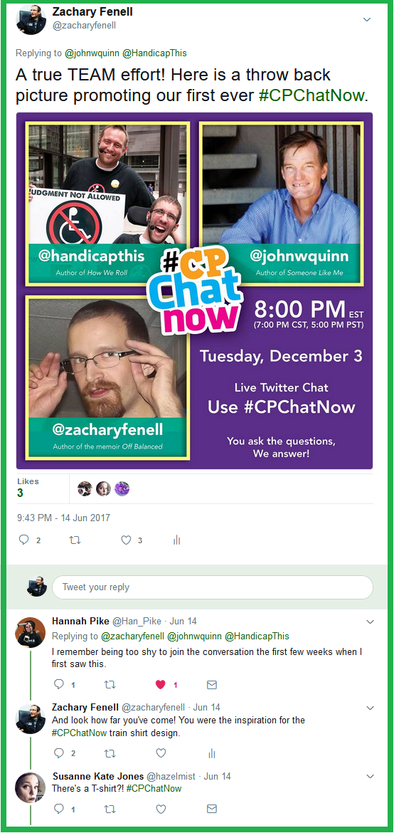 Long-time #CPChatNow participant Hannah Pike recalls seeing the original promotional graphic I shared while we all discussed #CPChatNow's history.