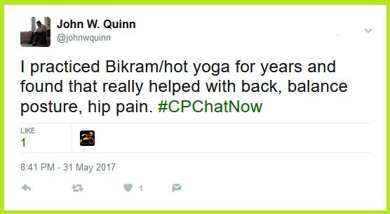 John W. Quinn, one of the original #CPChatNow co-hosts, finds yoga helps with balance issues plus back and hip pain.