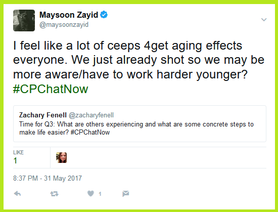 Maysoon Zayid notes an observation that many individuals with cerebral palsy forget aging impacts everyone.