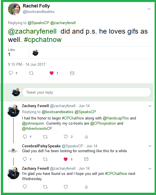 Rachel credits Zachary for starting #CPChatNow but he corrects he co-founded #CPChatNow along with John W. Quinn and Handicap This.