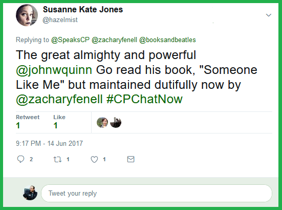 Susanne credits John W. Quinn for starting #CPChatNow.