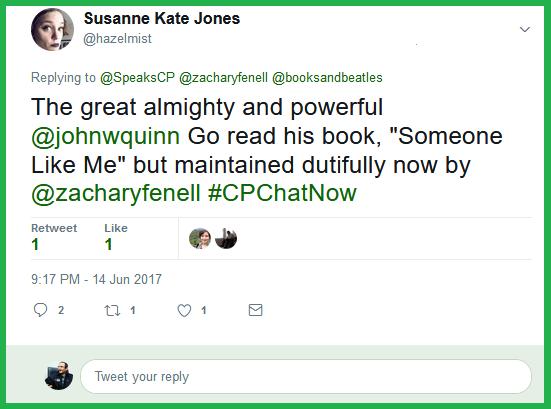 Susanne credits John W. Quinn for starting #CPChatNow.