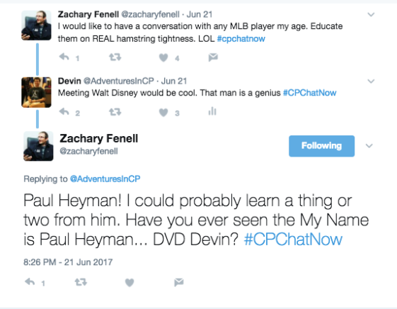 Zach stating he would like to meet an MLB player, I offered Walt Disney, while he offered Paul Heyman
