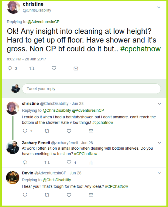 Christine asks the #CPChatNow community for advice on cleaning low places, like a shower.