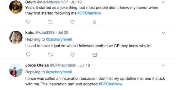 Kate stating she had it in her handle so others would know when she followed someone. Blake stated he felt inspiration stuck