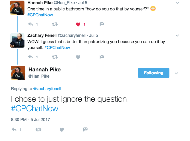 Hannah tweets that she was asking how she uses a public restroom by herself. Zach says that it is better than being patronizing. Hannah tweeted that she just ignored the question