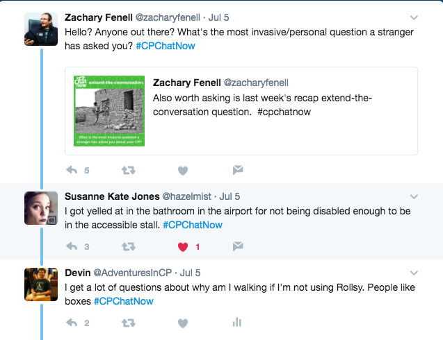 Zach asks what the most invasive question people have been asked is. Suzanne reports being yelled at an airport for using the accessible stall. I pointed out that I get questions about why I am walking if I use my wheelchair