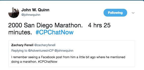 John Quinn stating that he did the San Diego marahon