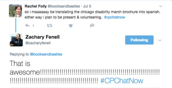 Rachel noting she may be working on translating the Chicago Disability March brochure into Spanish or at least volunteering for the march