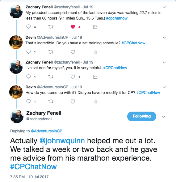 Zach announcing that he is training for a marathon 22 miles per days with John Quinn's help