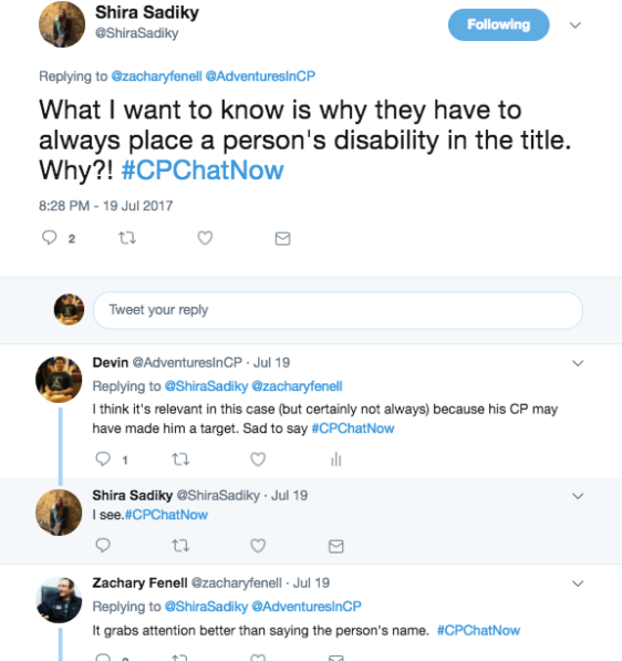 Members discussing disability use in headlines