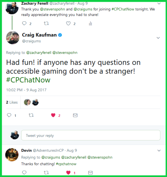 Craig encourages anyone with questions about accessible gaming to contact him.
