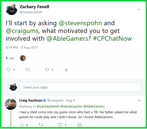 Craig explains what interested him in accessible gaming.