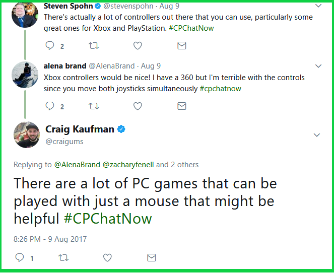 Craig notes a lot of PC games only require a mouse to play.