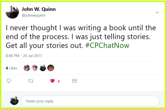 John Quinn didn't think of himself as writing a book but instead he focused simply on telling stories.