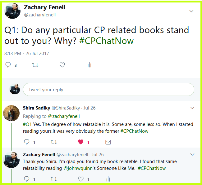 Zachary asks #CPChatNow participants about what CP books stand out to them.