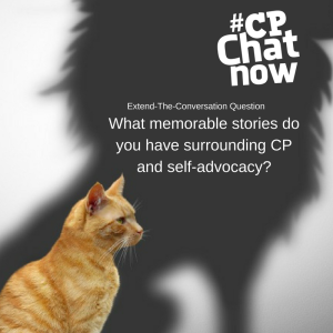 An oranage cat in the lower left hand corner with a shadow of a lion. There is white text saying Extend-The-Convrsation and What memorable stories do you have surrounding CP?