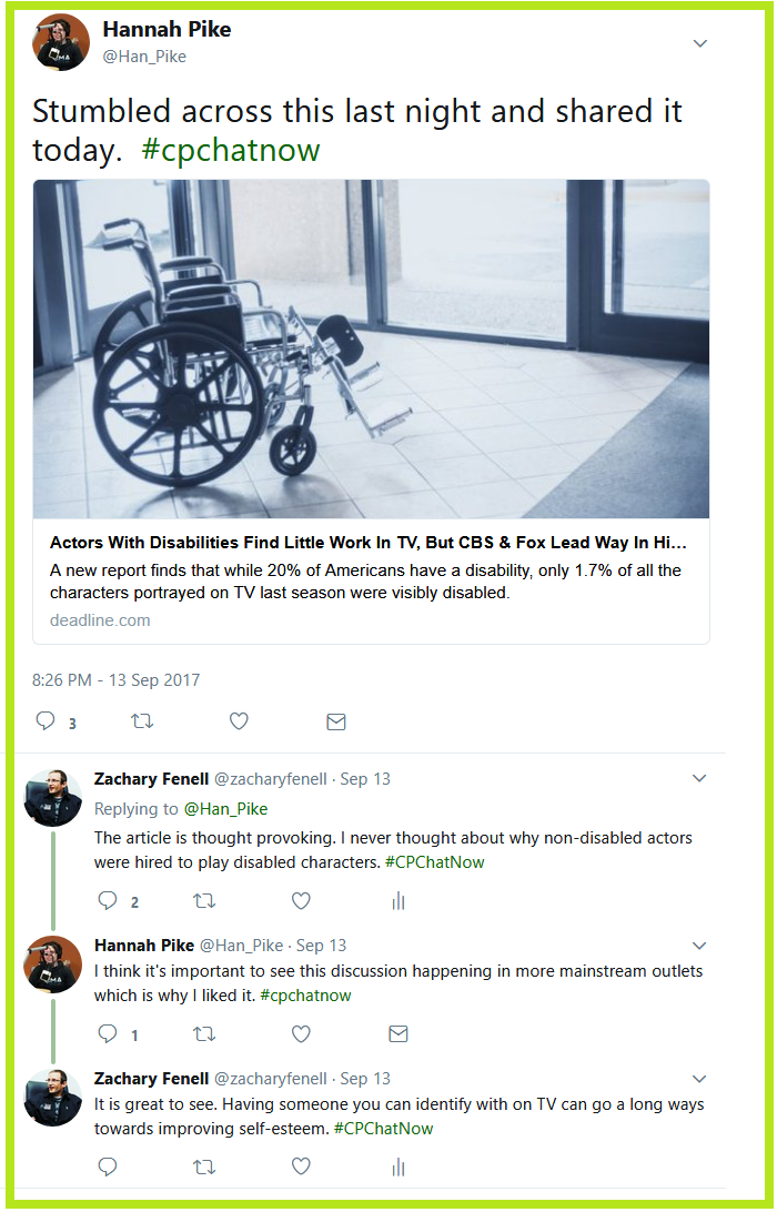 Long-time #CPChatNow regular Hannah Pike turns the conversation to acting and disabilities sharing an article she recently read.