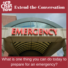 "This week's extend-the-conversation question asks ""What is one thing you can do today to prepare for an emergency?"" Reply in the ""Comments"" section."