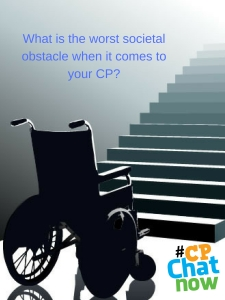 A black wheelchair in front of gray stairs with blue text on a gray background of the Extend-The-Conversation question. The Multicolor #CPChatNow logo is in the bottom right hand corner