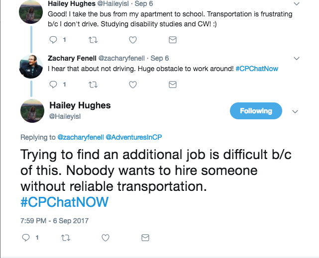 Hailey reporting that she has returned to grad school, but shared her frustration with lack of reliable transportation