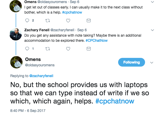 Omens discuss that she has a laptop to take notes