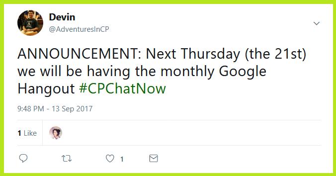 #CPChatNow will hold their September 2017 Google Hanout Thursday, September 21st.