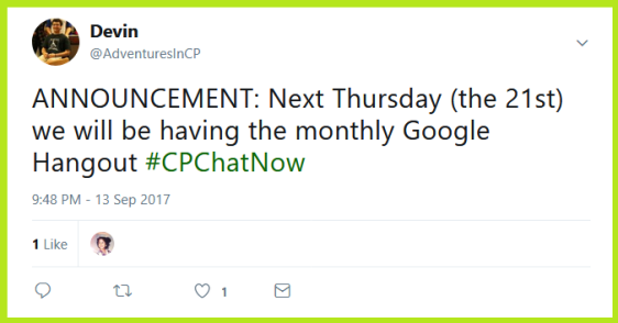 #CPChatNow will hold their September 2017 Google Hanout Thursday, September 21st.