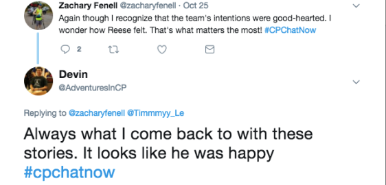 Zach and Devin discussing how Reese's feelings were the number 1 priority in the touchdown