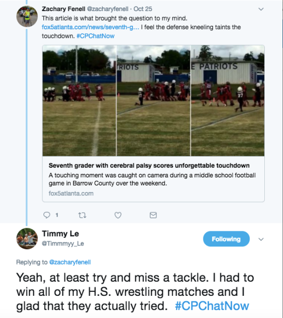Zach and Timmy bemoaning the lack of effort on a 7th grader with CP's touchdown