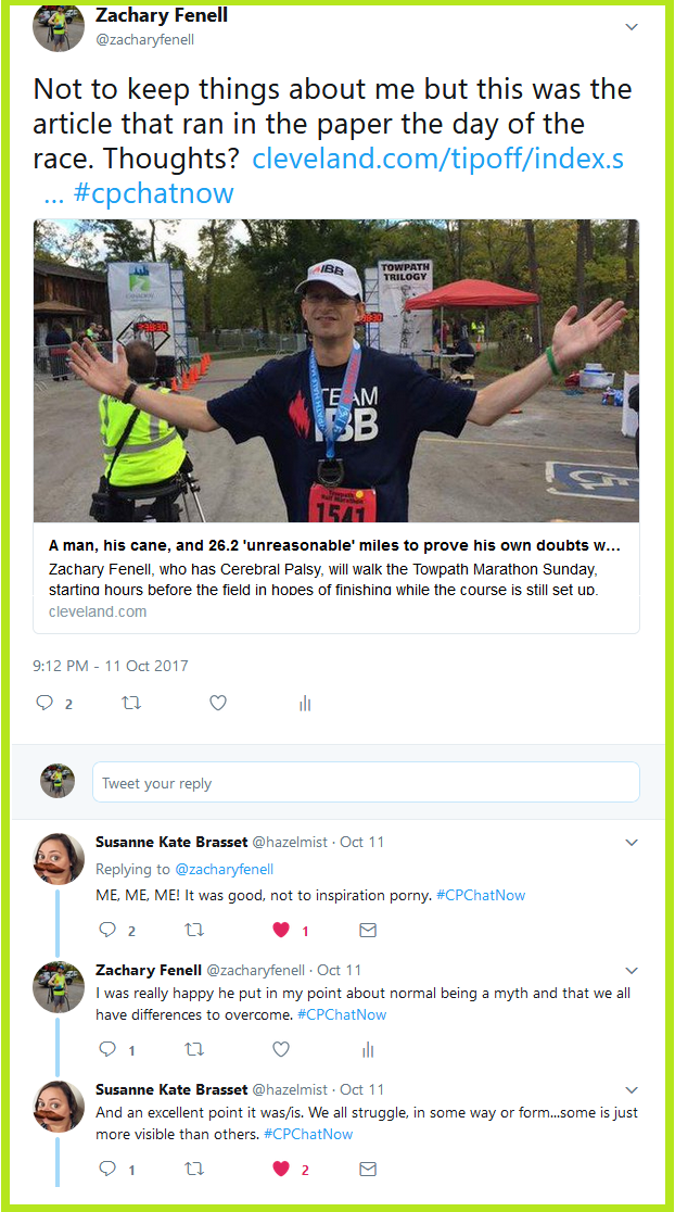 Zachary asks #CPChatNow participants for their thoughts on The Plain Dealer article covering his unreasonable marathon journey.