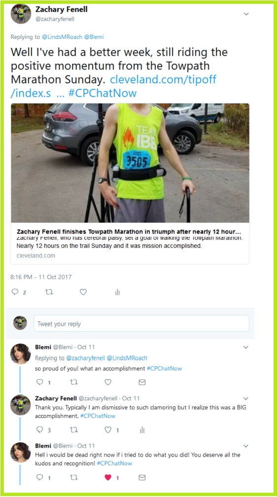 Zachary Fenell takes #CPChatNow into an uplifting mood with news he successfully completed the Towpath Marathon the previous Sunday (October 8th 2017)