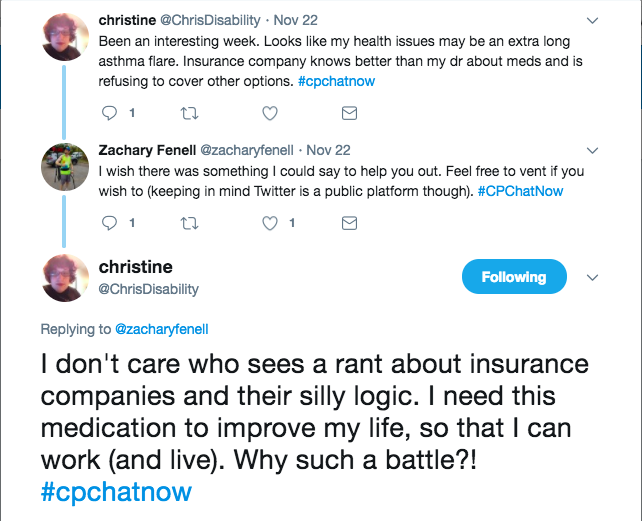 Chris discussing frustration with getting her asthma treatments covered