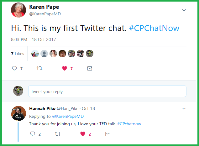 Dr. Karen Pape shares that #CPChatNow is her first Twitter chat.